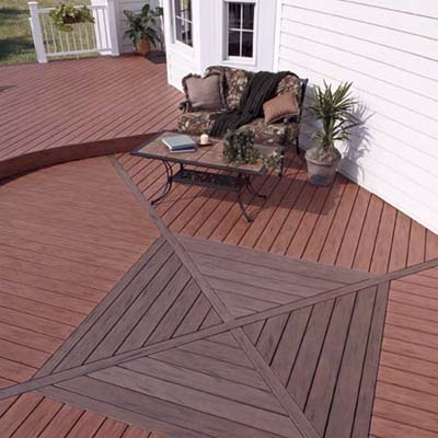 composite deck with centered square medallion detail