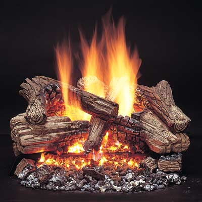 a log set gas fireplace from Monessen