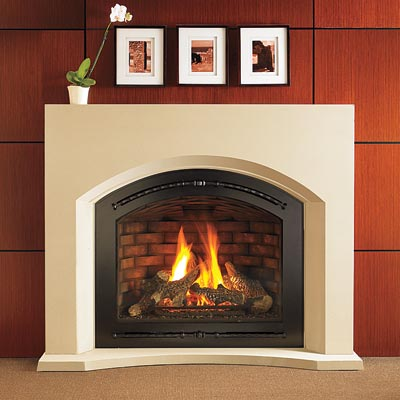 a built-in gas fireplace from Heat & Glo