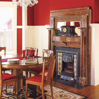 a gas fireplace that replicates the look of a Victorian coal-burning fireplace
