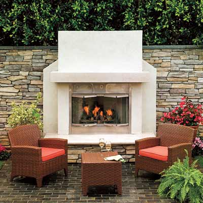 a gas fireplace on the patio