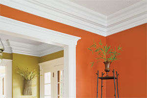 interior room displaying bold use of crown molding