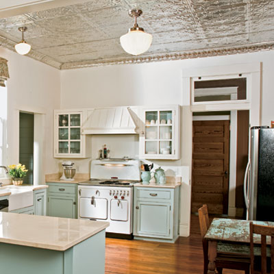 silver tin ceiling installed in vintage look kitchen