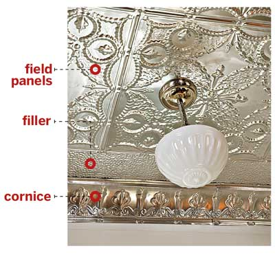 tin ceiling broken down into common elements