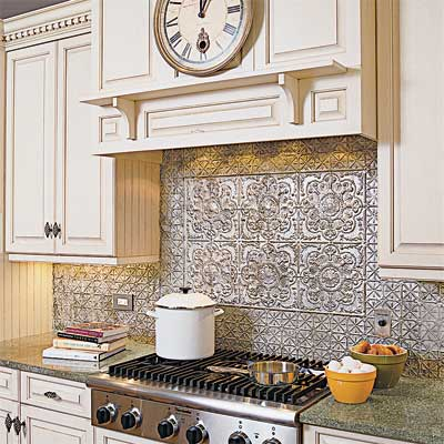 example of tin ceiling tiles used as a backsplash