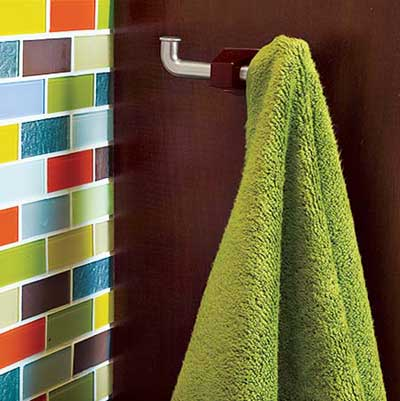 towel hooks save space in small bathroom