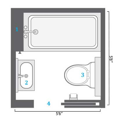 diagram of small bathroom remodel