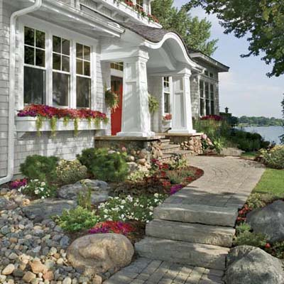 an example of a nice, colorful front yard and walkway