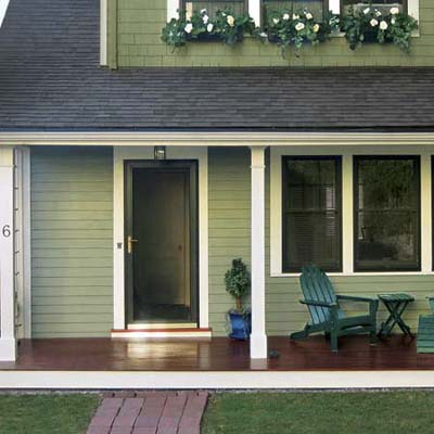 an closeup of front entryway and porch that were given a makeover