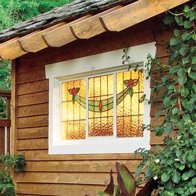 shed with stained glass window