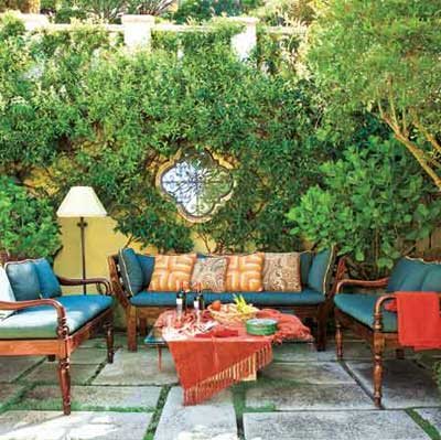 outdoor space with plush couches and coffee table