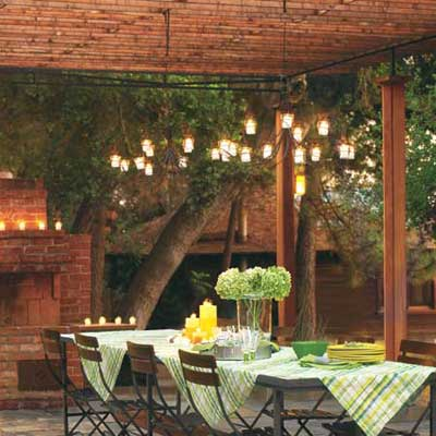outdoor table under pergola