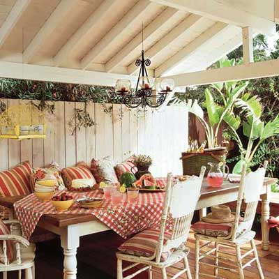 outdoor dining area in carport