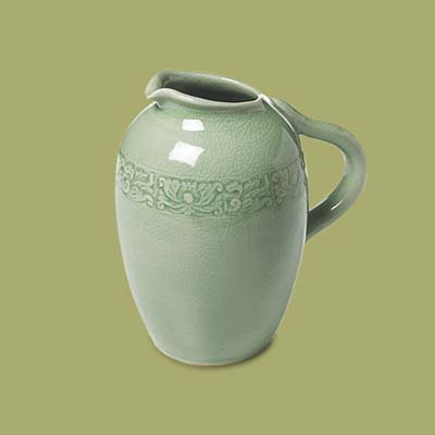 a ceramic water pitcher 