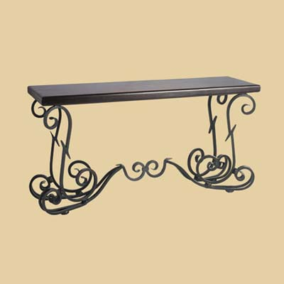 a wrought-iron console table made by Pier 1 Imports
