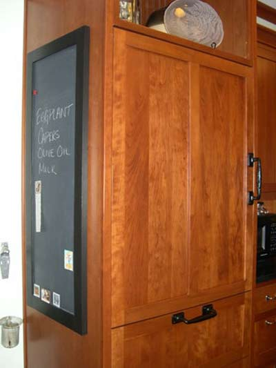 cabinet door becomes a chalkboard
