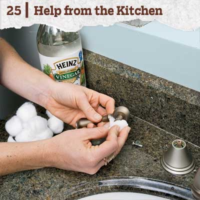reader tip to save time and money about using vinegar to cleans faucets