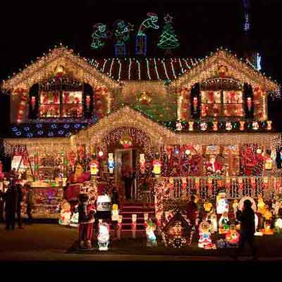 holiday house decorations and holiday lights