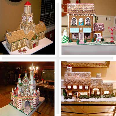 composite of four 2010 gingerbread house contest finalists