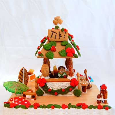 gingerbread tiki hut 2010 gingerbread house contest finalist