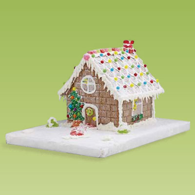 a cobblestone gingerbread house