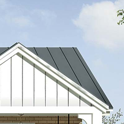 detail of gray roof with white trim from the photoshop redesign of this ranch style house
