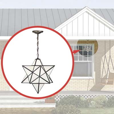 moravian-star-shaped pendant added to the photoshop redesign of this ranch style house