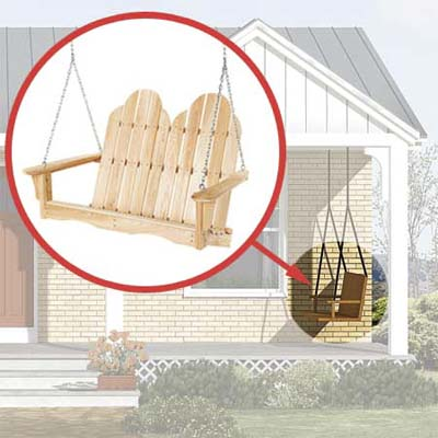 adirondack-style porch swing added to the photoshop redesign of this ranch style house