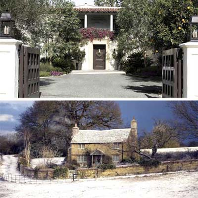 summer and winter holiday houses shown from the front