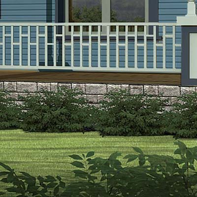 a Photoshop makeover of a Folk Victorian focusing on the shrubs in front of the foundation