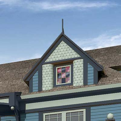 a Photoshop makeover of a Folk Victorian focusing on the dormer