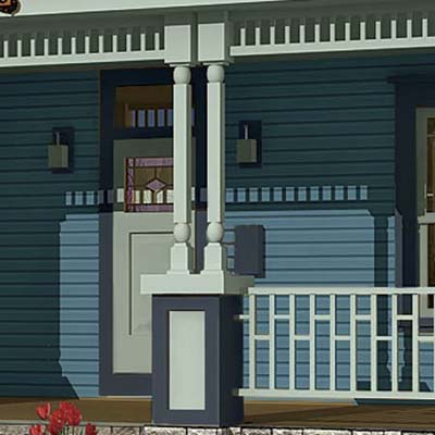 a Photoshop makeover of a Folk Victorian focusing on the porch columns
