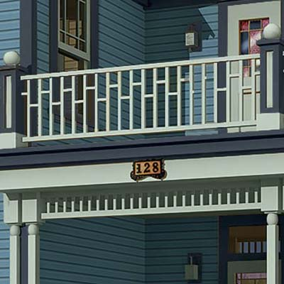 a Photoshop makeover of a Folk Victorian focusing on the spandrel rail between the front porch and the second floor addition