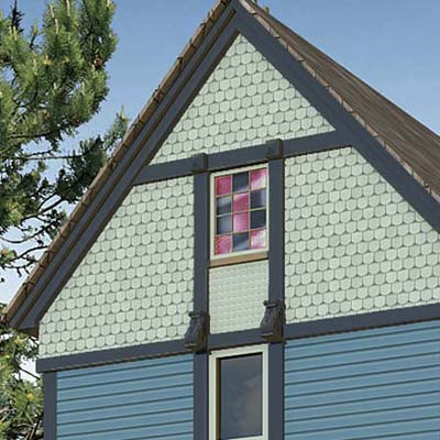 a Photoshop makeover of a Folk Victorian focusing on the half-round (fish-scale) shingles