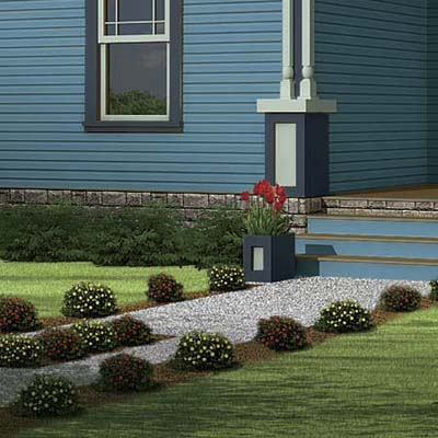 a Photoshop makeover of a Folk Victorian focusing on the walkway with virtual plantings