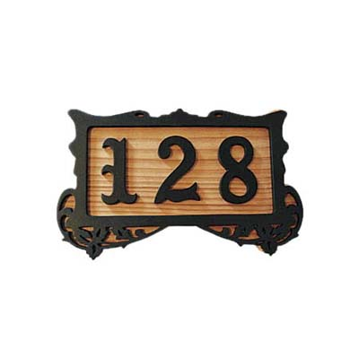 address plaque with ornamental numbering