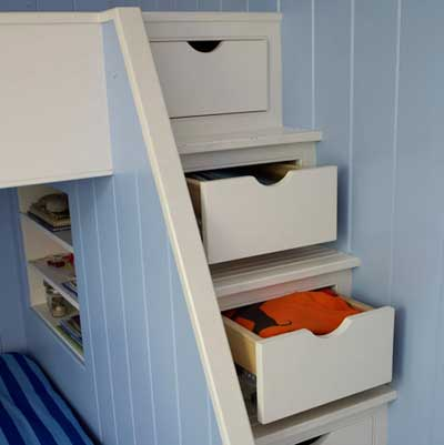 kid's bunk bed with stair storage