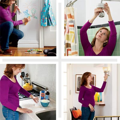 composite of a woman demonstrating four tricks for d i y savings