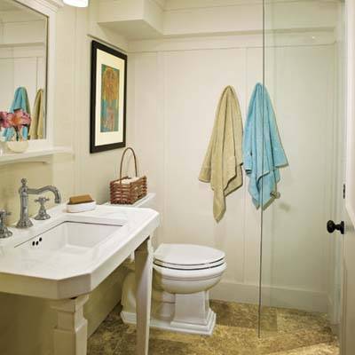 vintage look bathroom built in this remodeled basement