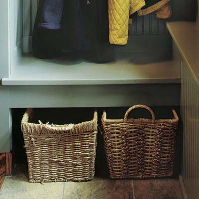 storage baskets and slate tile floor