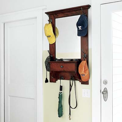 mudroom with hat rack