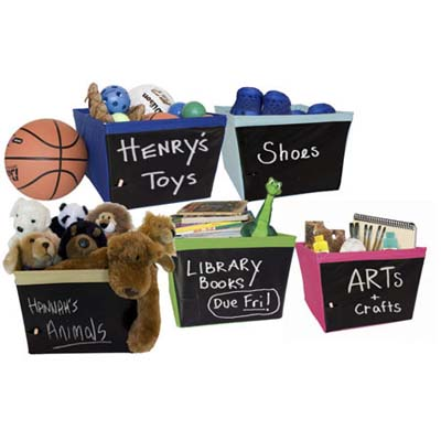 storage bins with chalkboard labels