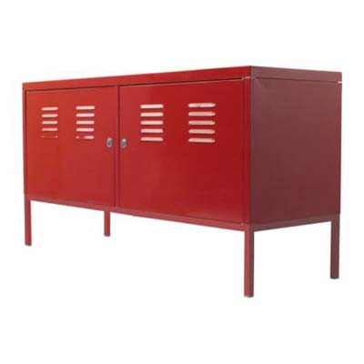 red metal sideboard storage cabinet
