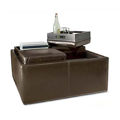 storage ottoman doubles as coffee table