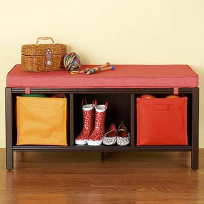mudroom storage bench with wall hooks