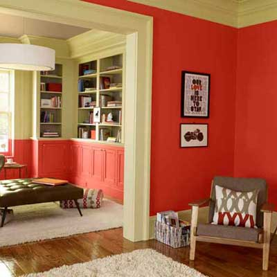 sitting room painted a soft red