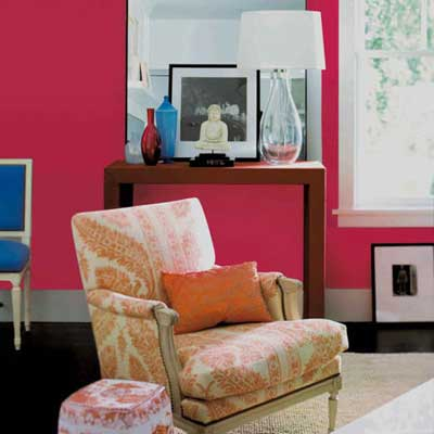 bright pink wall brightens up parlor