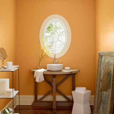 bathroom painted an apricot hue