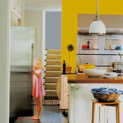 wall painted bright yellow in kitchen