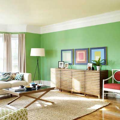 Find a happy medium with green choose paint colors to Cheerful colors to paint a room